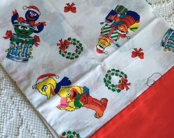 Vintage Sesame Street CHRISTMAS Holiday Pillowcase Standard