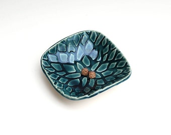 Teal blue ceramic dish - ring dish - jewelry dish - spoon rest - key holder - Lauren Sumner Pottery - Gifts for Her - Gifts under 20