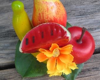 Banana- Mango - Water Melon and Apple Fruits hair Clip - Carmen Miranda Style - Burlesque - Retro - Rockabilly