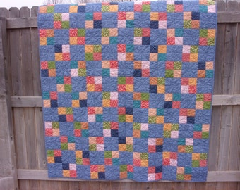 Honey and Wildflower Twin Size Four-Patch Quilt