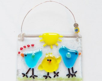 Blue and Yellow Birds of Happiness Fused ARt Glass Suncatcher // Friends // Family // Cute // Fun // Sunshine // Spring// Summer//Whimsical