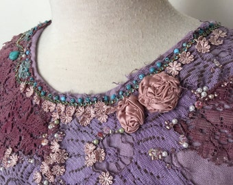 upcycled lilac mauve cotton linen top  hand dyed vintage lace hand beaded top reworked blouse altered couture
