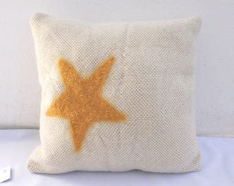 yellow star handwoven pillow