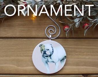 Bull Dog Ornament, Christmas Tree Decoration, Tree Ornament, Vintage Ornament, Dog Gift, Christmas Gift, Stocking Stuffer, Free Shipping