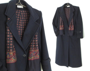 Vintage Wool Coat * 70s Wool Jacket * Double Breasted Overcoat * Small / Medium