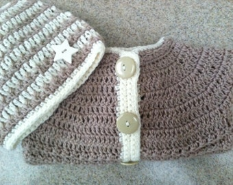 Crocheted Baby Boy or Girl Cardigan / Sweater and Matching Beanie Hat in Shades of Beige