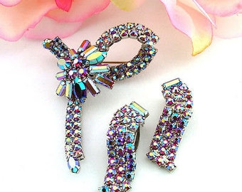 Brilliant Vintage Aurora Borealis Rhinestone Set Floral Bow Brooch & Earrings