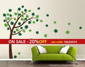 Tree and Leaves Wall Decal, Tree with Leaves Blowing in the Wind Vinyl Wall Decal, Tree with Leaves Wall Sticker for Home Decor Wall Art