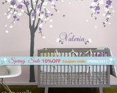 Cherry Blossom Tree Wall Decal, Cherry Tree Nursery Wall Decal, Cherry Blossom Tree for Baby Room Decor, Flower Tree Personalized Name Decal