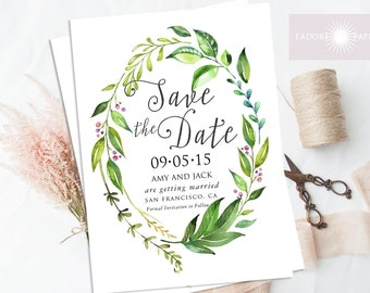 Save The Date, Watercolor Save the Date, Leafy Save the Date, Printable Save the Date, Garden Wedding, Forest Wedding, DIY, jadorepaperie