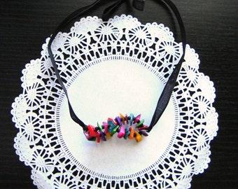 Necklace, Adjustable Choker, Colorful Choker, Beaded Necklace, Black necklace, Statement Necklace, Bohemian Necklace, Frida Kahlo, Gift