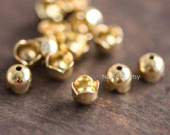 20pcs Solid Gold Floral Bead Caps 6mm, Gold plated Brass, Lead Nickel Free (GB-054)
