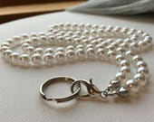 White Pearl ID Badge Lanyard with Lobster Claw Clasp and Key ring