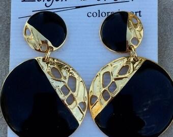 Edgar Berebi Modernist Retro Abstract gold and black dangling post earrings