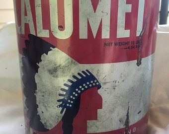 Vintage Calumet Baking Powder Tin Metal Advertising Can with Native American Indian Large Size 10 lbs 1940's - 1950's