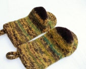 Custom Order for Julie: Knit Felted Wool Oven Mitt Set, Wool Felt Oven Mitt Set, Knit Felted Oven Mitts, Wool Oven Glove Set, Hostess Gift