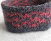 Reserved for Kate: Charcoal Gray and Coral Knit and Felted Wool Basket