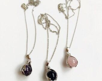 Hand Amulet Necklace with Crystal, Amethyst Sandstone Quartz Pendant Necklace