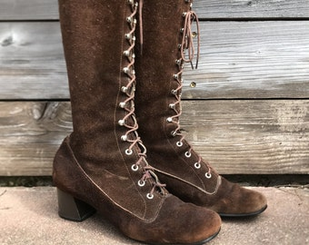 Vintage 60s chocolate suede KNEE high lace up boots / Size 7.5 women's boots / Vintage MOD boots