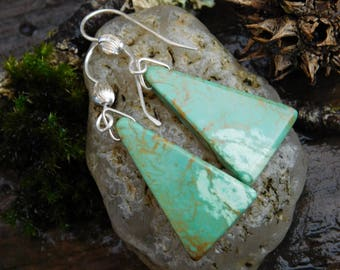 Green Kingman Turquoise and Sterling Silver Dangle Earrings