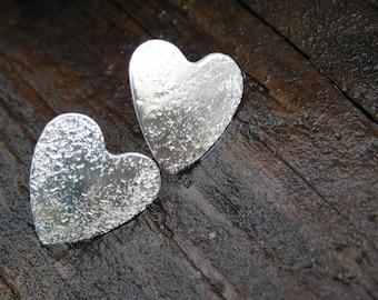 Textured Sterling Silver Heart Post Earrings