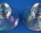 Pair of Fostoria, Paradise Brocade, Single Candles Sticks, Crystal with Iridescence, reserved for Renee