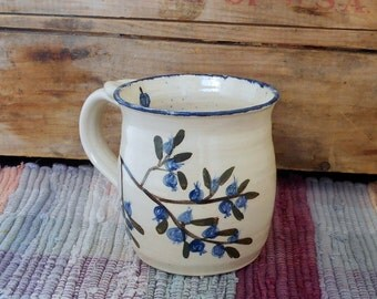 Handmade pottery cup painted in blueberries - 12 oz - handpainted ceramic mug - handmade pottery coffee cup - pottery mug - mbb2614