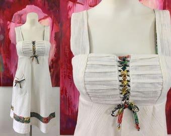 Vintage 70s Boho Dress Lace Up Bodice Hippie Holly Hobbie 1970s Sundress