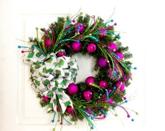 Green Pink Wreath, Christmas Wreath, Retro Wreath, Holiday Wreath, Front Door Wreath, Christmas Decoration, Holiday Decor