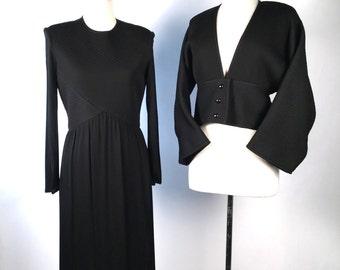 Vintage 80s Dress, Albert Nipon, Black Dress Suit, Quilted, Kimono Style, Rayon, Long Sleeve, High Neck, Minimalist, Timeless, Perfect!