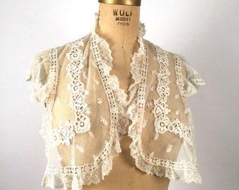 Vintage 1890s, Antique Lace Collar, Victorian Lace, Cotton, Net, Ruffled, Irish Crochet Lace, Gothic Lolita, Steampunk, Victorian Costume