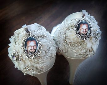 Wedding Shoes Charms, Wedding Shoes Photo Charms,Bridal Shoe Clips, Bridal Charms, Walk With Me Dad, Bridal Gifts