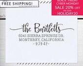 Custom Address Stamp, Return Address Stamp, Wedding , Christmas Stamp, Calligraphy Address Stamp, Self inking or Eco Mount stamp - Bartlett