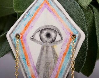 Third Eye Necklace, Air Dry Clay Pendant, Pencil Drawing, Geometric, Tribal, Ceramic Jewelry, Ceramics, Handmade, Rhombus, Schmuck