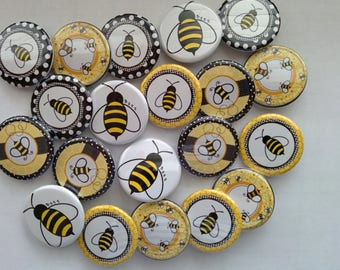 set of 20 1.5 inch bee themed pinback buttons badge