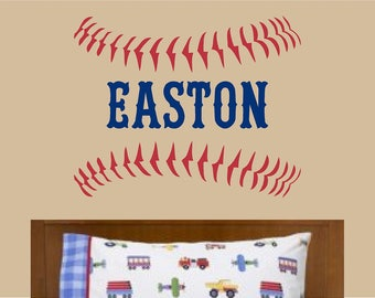 Baseball Stitches Laces Vinyl Wall Decal Custom Personalized Name