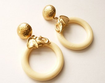 Vintage Carolee Cream Hoop Earrings with Gold Elephants 3.25 Inches Pierced