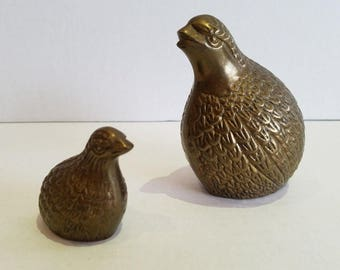 Vintage Brass Bird Mother Baby Quail Pheasant Figures Paperweights