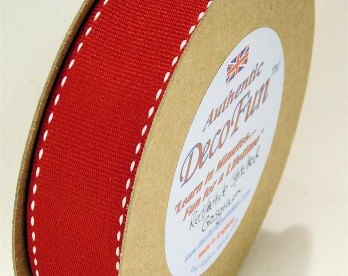 Red & White Stitched Grosgrain Ribbon, 1 inch width Woven Edge, Made in England