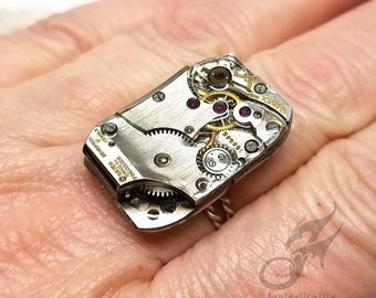 Size 9-11 Steampunk Ring, Gruen Curvex Watch Movement ~ Handmade Sterling Silver Rope Style Band ~ Adjustable Steampunk Ring ~ #R0106
