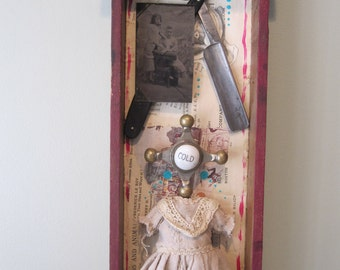 Mixed media assemblage, art, shadow box, 3D art, frankenjunk art