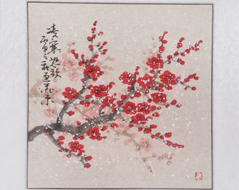 Cherry Blossom painting flowerpainting Original  chinese painting oriental art watercolour-Lovely cherry blossom tree No.92