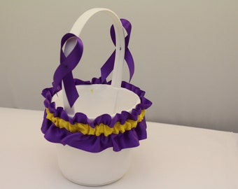 White Flower Girl Basket with Purple and Yellow Trim
