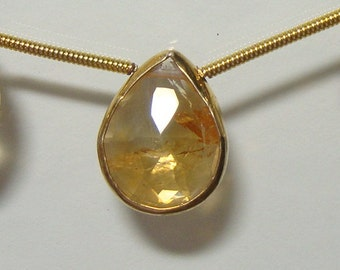 full strand, 14-15x12mm, Genuine Citrine Faceted Teardrop Pear Briolette, Vermeil Sterling Silver bezel rim citrine connector, n1