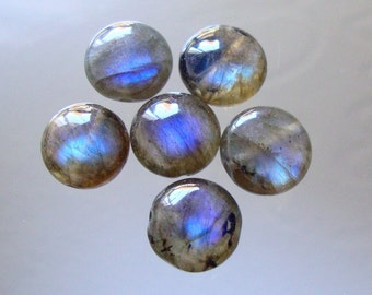 AAA+,  4 Inch strand, 10mm, Firey Blue Flash Labradorite Smooth Coin Beads