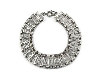 Sterling Silver Greek Key Bracelet - Sterling Bracelet, Silver Bracelet, Vintage Bracelet, Vintage Jewelry