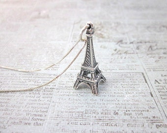 Travel Charm Necklace -- Sterling Charm Necklace -- French Charm Necklace -- Tower Necklace -- Eiffel Tower Necklace -- Tiny Charm Necklace