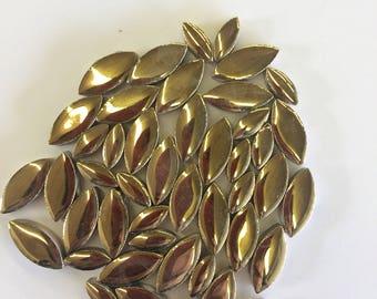 Gold Ceramic Petals-50g//gold tiles//gold mosaic leaves//discount mosaic tile