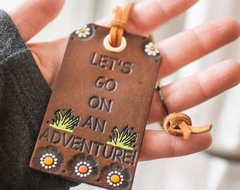 Leather Luggage Tag - Travel Themed Bag Tag - Lets Go On An Adventure - Spring Daisies and Grass - Hand painted - Made to Order