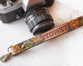 Custom Leather Camera Wrist Strap Or Key Ring - Sunflowers and Woodland - Custom name - Trees Mountain Loop Wristlet - Mesa Dreams